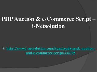 PHP Auction & e-Commerce Script – i-Netsolution