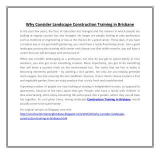 Why Consider Landscape Construction Training in Brisbane