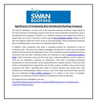 Significance of Employing Best Residential Roofing Company