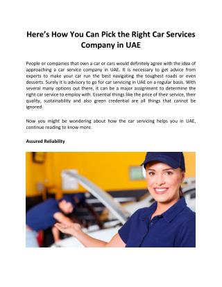 Here�s How You Can Pick the Right #Car Services Company in #UAE