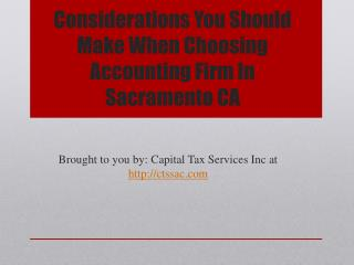 Considerations You Should Make When Choosing Accounting Firm In Sacramento CA