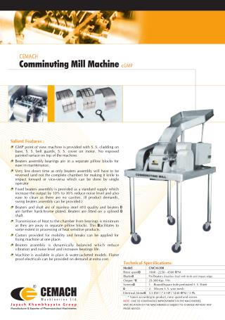 Cemach Comminuting Mill Machine cGMP