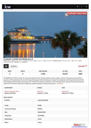 Home For Sale at 19 WHARF AVE PENSACOLA, FL