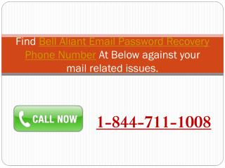 1-844-711-1008 Bell Aliant Email Password Recovery Phone Number