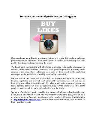 Improve your social presence on Instagram