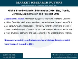 Global Bromine Market Research Report - Forecast to 2021