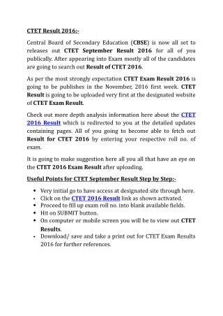 CTET Result 2016, ctet.nic.in, CTET Result