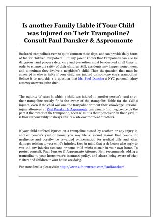 Is another Family Liable if Your Child was injured on Their Trampoline? Consult Paul Dansker & Aspromonte