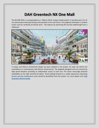 DAH Greentech NX One Mall