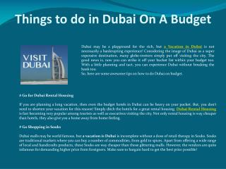 Things to do in Dubai On A Budget