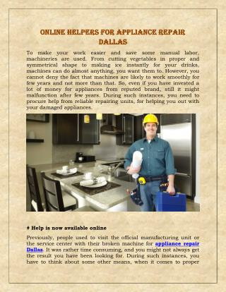 Online Helpers For Appliance Repair Dallas