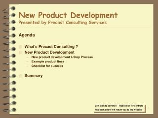 New Product Development Presented by Precast Consulting Services