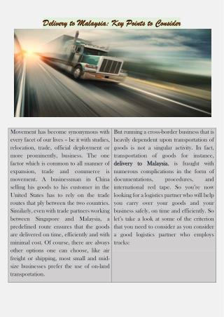 Delivery to Malaysia: Key Points to Consider