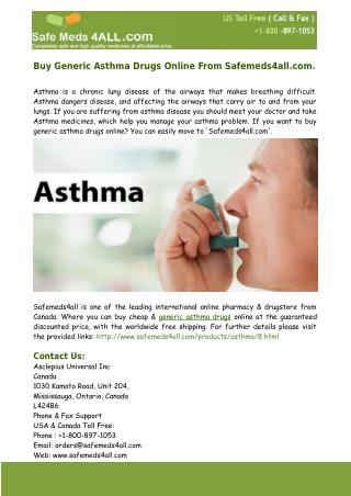 Buy Generic Asthma Drugs Online – Safemeds4all