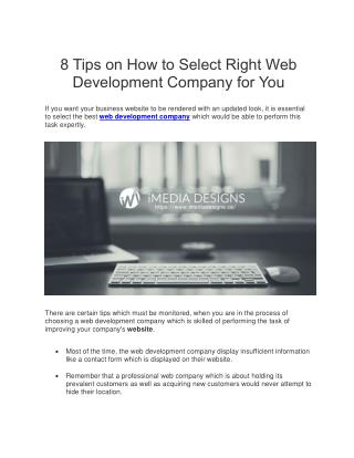 8 Tips on How to Select Web Development Company | iMedia Design