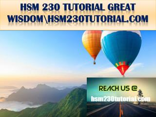 HSM 230 TUTORIAL GREAT WISDOM \hsm230tutorial.com