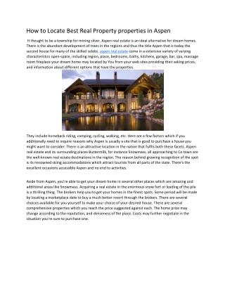 Benefits of aspen real estate agent