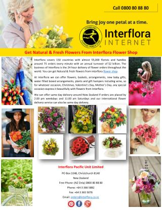 Get Natural & Fresh Flowers From Interflora Flower Shop