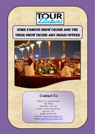 Some Famous Dhow Cruise And The Their Dhow Cruise Abu Dh abi Offers