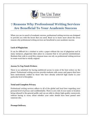 7 Reasons Why Professional Writing Services Are Beneficial To Your Academic Success