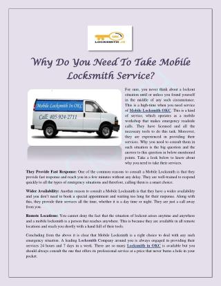 Why Do You Need To Take Mobile Locksmith Service