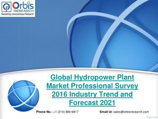 Global Hydropower Plant Market Professional Survey Growth Report 2016-2021