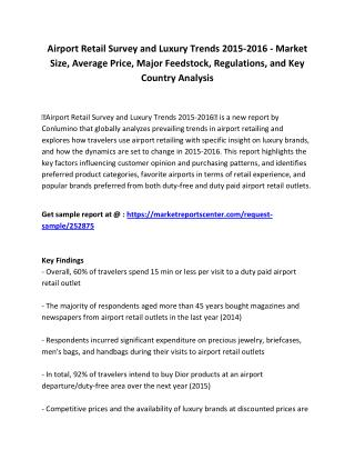 Airport Retail Survey and Luxury Trends 2015-2016  - Market Size, Forecast and Recommendations