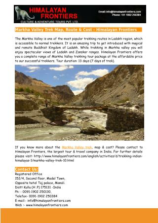 Markha Valley Trek Map, Route & Cost