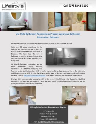 Life Style Bathroom Renovations Present Luxurious Bathroom Renovation Brisbane