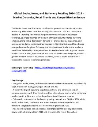 Global Books, News, and Stationery Retailing 2014- 2019 - Market Share, Size, Tenders, objective and Trends