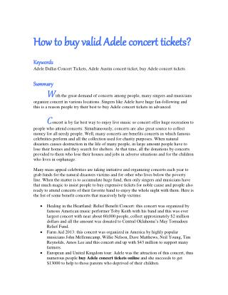 How to buy valid Adele concert tickets?