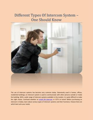 Different Types Of Intercom System � One Should Know