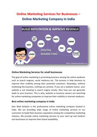 Online Marketing Services for Businesses – Online Marketing Company in India
