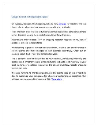Google Launches Shopping Insights