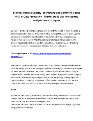 Frontier Pharma: Obesity - Identifying and Commercializing First-in-Class Innovation - Market overview, size, outlook, g