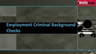 Employment Criminal Background Checks