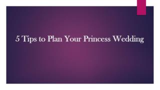 5 Tips to Plan Your Princess Wedding