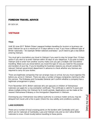 Foreign travel advice Vietnam