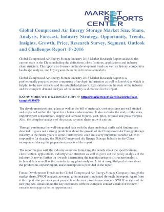 Compressed Air Energy Storage Market Trends, Challenges, Opportunities and Forecasts to 2016