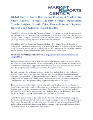Electric Power Distribution Equipment Market Price Trends And Company Share To 2016