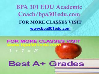 BPA 301 EDU Focus Dreams/bpa301edu.com