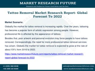 Tattoo Removal Market Research Report- Global Forecast To 2022
