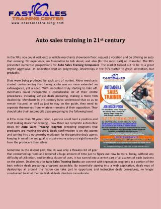 Auto sales training in 21st century