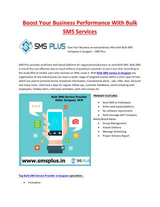 Boost Your Business Performance with Bulk SMS Services in Gurgaon