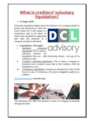 What is creditors' voluntary liquidation?