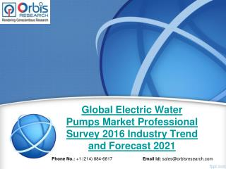 2016 Global Electric Water Pumps Industry Professional Survey Research Study