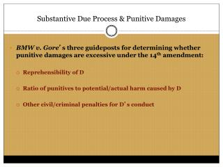 Substantive Due Process  Punitive Damages