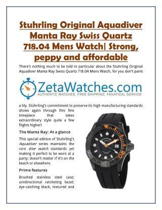 Stuhrling Original Aquadiver Manta Ray Swiss Quartz 718.04 Mens Watch| Strong, peppy and affordable