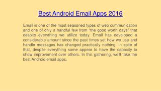 Best Android Email Apps 2016