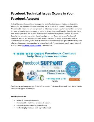 What type of technical issue Facing by users in Facebook Account
